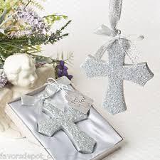 baptism ornament favors 1 silver glitter design cross ornament favors baptismal
