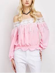 the shoulder blouses cut out the shoulder blouse pink blouses l zaful