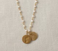 personalized charm necklaces gold pearl chain charm necklace pottery barn kids