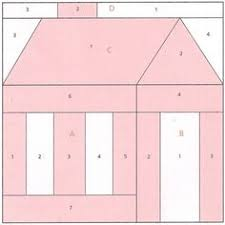 pattern block house template schoolhouse quilt block paper foundation piecing pattern bloques