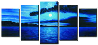 Ocean Decorations For Home by Amazon Com Wieco Art Dark Blue Ocean White Sun Modern 5 Piece