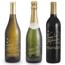 anniversary wine bottles anniversary etched wine bottles