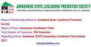 jslps org jharkhand jslps 504 community coordinator recruitment 2017