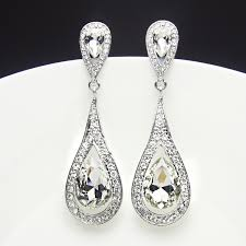 drop earrings wedding silver earrings with crystals water drop earrings wedding