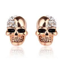 skull stud earrings lubingshine vintage gold skull stud earrings for women men