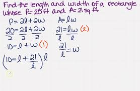 find the length and width of a rectangle with a system of