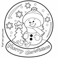 christmas snow globe whit snowman coloring pages printable