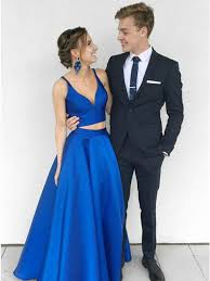 royal blue dress two v neck floor length royal blue satin prom dress with