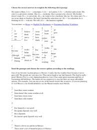 Beginner Reader Worksheets Read The Passages And Choose The Correct Options According To The