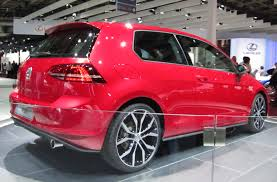 red volkswagen golf file volkswagen golf vii gti rear quarter red jpg wikimedia
