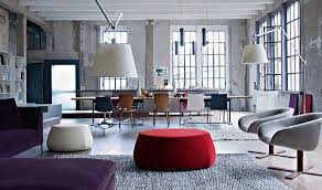 affordable large office loft design with colorful seat applied on