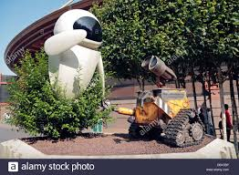 statue of and wall e in discoveryland disneyland stock