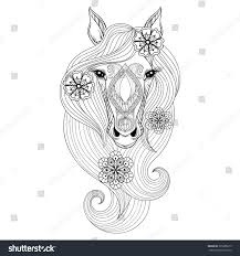 vector horse coloring page horse face stock vector 395286619