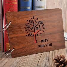 wood photo album 8 wooden cover photo album handmade leaf pasted photo