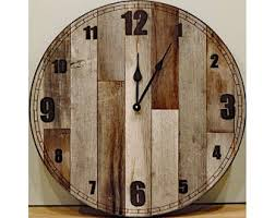 reclaimed wood wall large rustic wall clock etsy