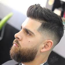 mr fineline short quiff hairstyle for men with beard
