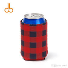 wedding gift or check buffalo plaid can cooler wholesale blanks check bottle wraps