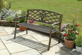 lawn garden elegant cast iron wood powder coated classic bench