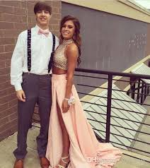 two piece prom dress 2017 unique design high neck beaded crystals