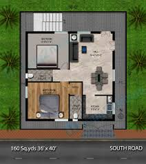 1000 Sq Ft Floor Plans 160 Sq Yds 36x40 Sq Ft South Face House 2bhk Floor Plan For More