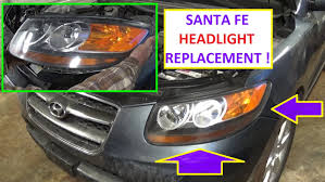 headlight removal and replacement on hyundai santa fe 2006 2007