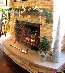 decorations impressive natural stone fireplace with christmas