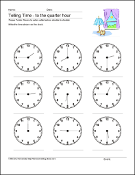 math worksheets telling time to the quarter hour