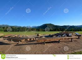 Fire Pit Logs by Bleachers Surround A Fire Pit Stock Photo Image 57021008
