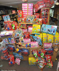 police seize counterfeit frozen toy story peppa pig toys