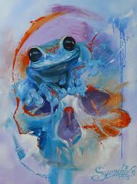 watercolor blue ink frog with skull tattoo design