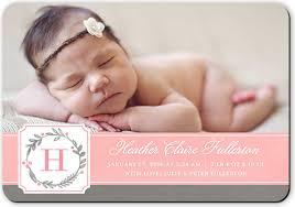 birth announcements wreath monogram girl birth announcement cards shutterfly