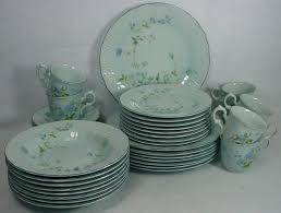 mikasa china d2501 precious blue 40 pc set service for