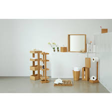 Free Standing Wooden Bathroom Furniture Light Brown Wooden Standing Bathroom Storage Organizer Set