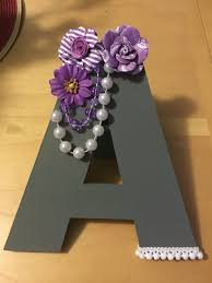 letter decoration at a gray and purple baby shower party