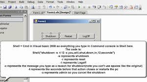 how to make a shutdown restart application at visual basic 2008