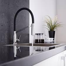 Chrome Kitchen Sink Modern Monobloc Kitchen Sink Mixer Tap Chrome Black