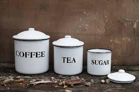 amazon com creative co op coffee tea sugar enamel metal