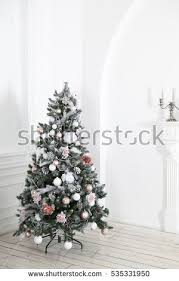 defocused christmas tree living room presents stock photo