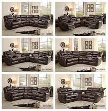 sectional recliner sofa amazon com homelegance 3 piece bonded leather sectional reclining