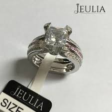 Jeulia Wedding Rings by 3pc Crown Created White Sapphire Wedding Set White Sapphire