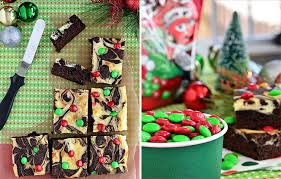 Christmas Cheesecake Decoration - marbled brownies with cheesecake