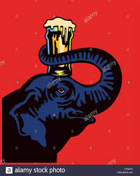 cartoon beer cheers cheers cartoon smiling elephant holding beer pint glass on its