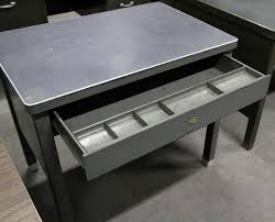 Small Steel Desk Small Metal Vintage Solid Steel Desk Single Drawer Pencil