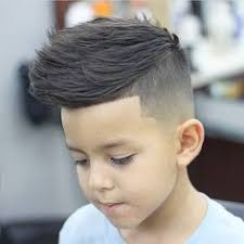 boys haircuts pompadour classic mohawk type burstie fade with three lines and a razor
