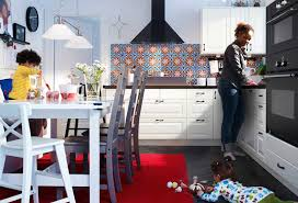 Red Ikea Kitchen - ikea white kitchen with red rug design modern cabinets interior