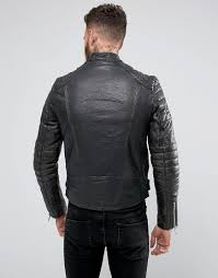 leather waistcoat biker blackdust stardust leather biker jacket with quilted sleeves in