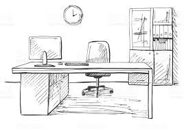 office in a sketch style hand drawn office furniture vector