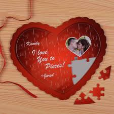 Heart Shaped Items Love Message Personalized Photo Heart Jigsaw Puzzle