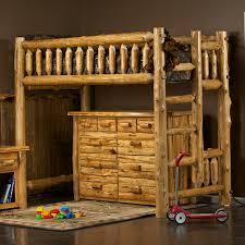 Cedar Lake Rustic Solid Log Bunk Beds Using Hand Peeled Cedar - Log bunk beds