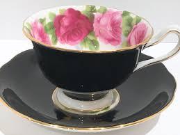 pink rose black royal albert tea cup and saucer pink rose cups